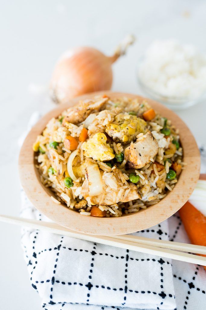 chicken fried rice served in a bowl
