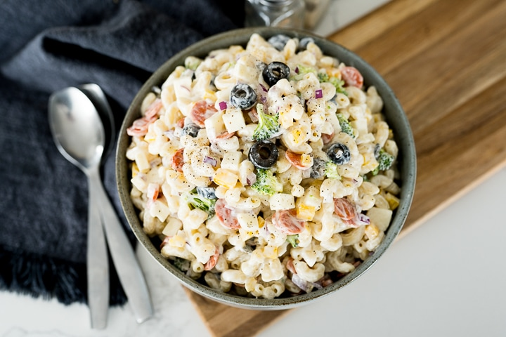 pasta salad made with macaroni, final dished photo