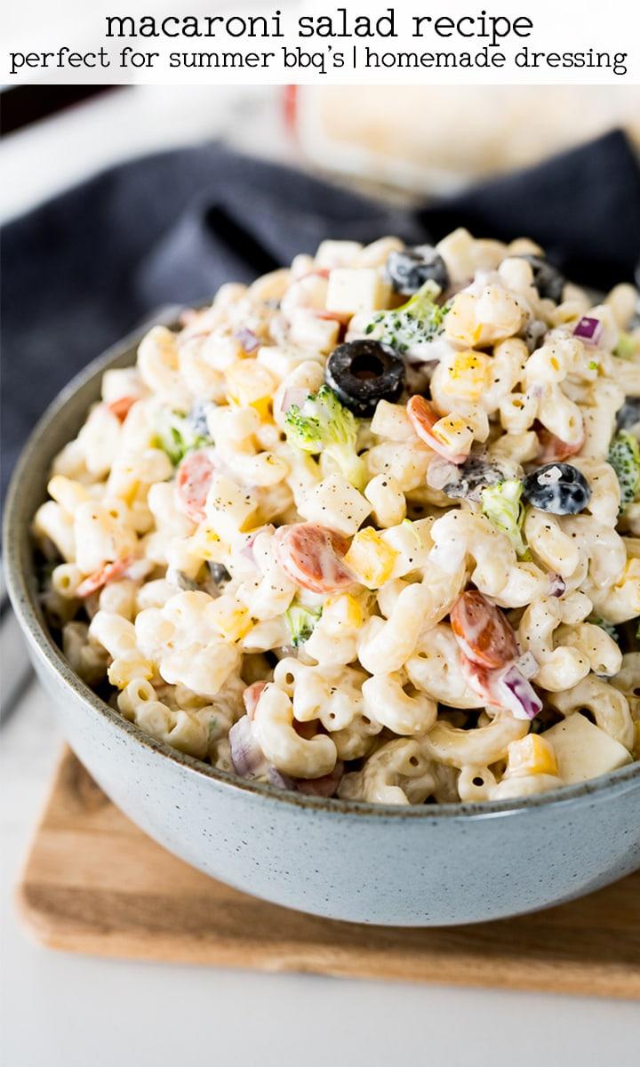pin image for macaroni salad