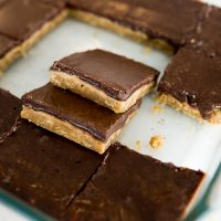 peanut butter chocolate bars, cut and served