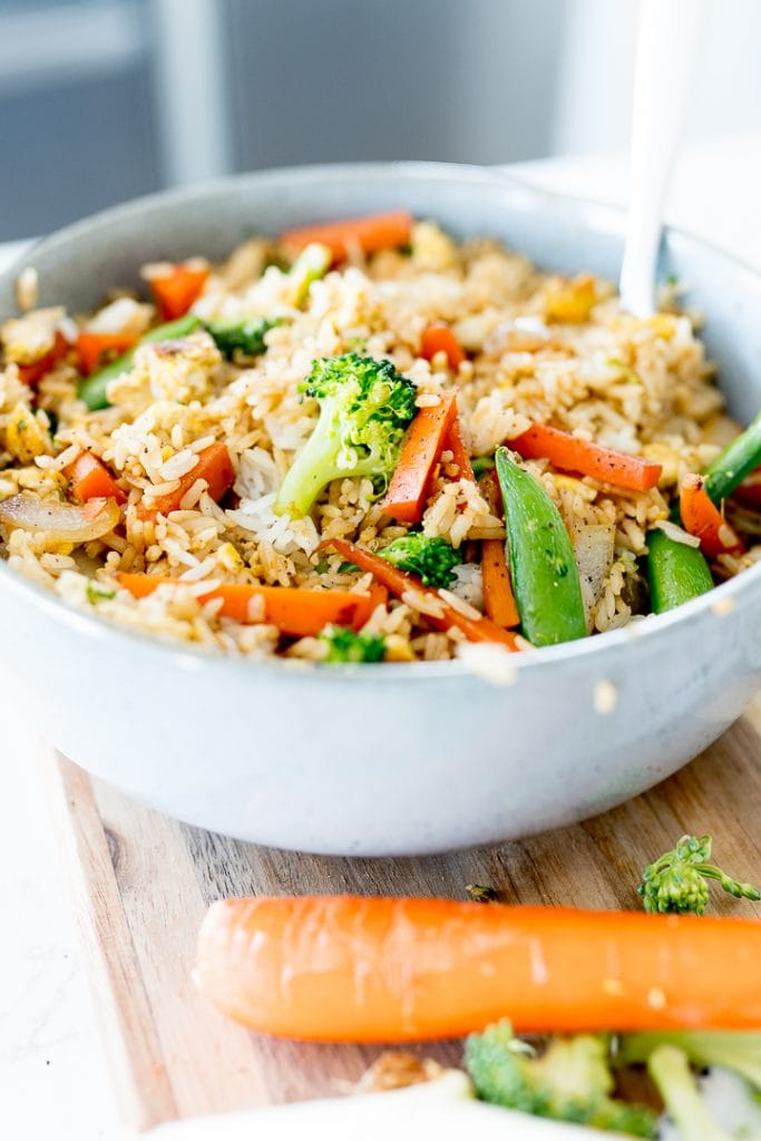veggies in fried rice in a bowl