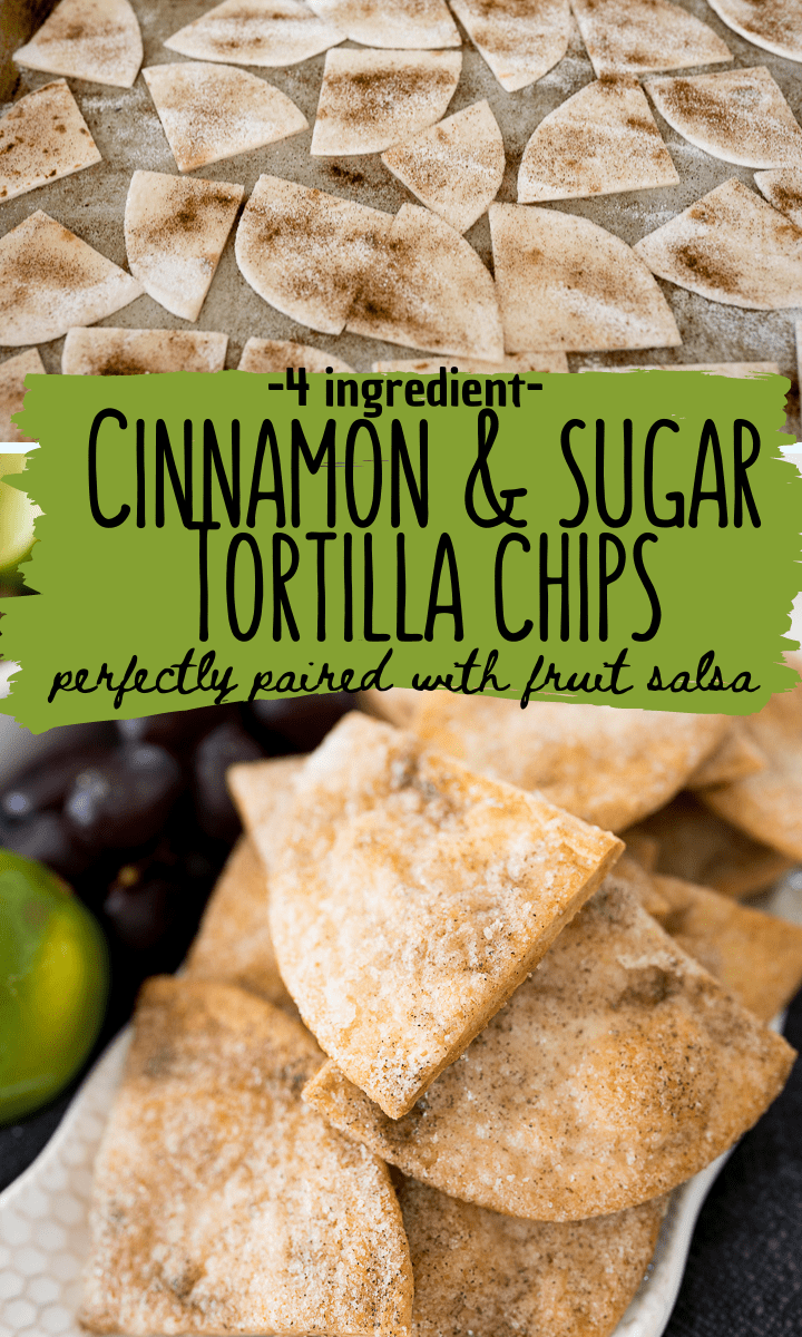 pin image for cinnamon sugar tortilla chips