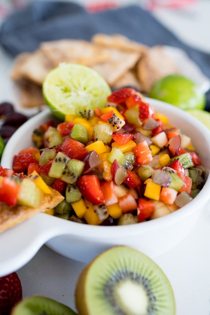 fruit salsa with cinnamon chips, served in a bowl