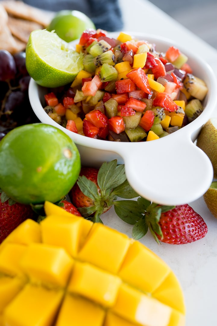 fruit salsa, served with cinnamon tortilla chips