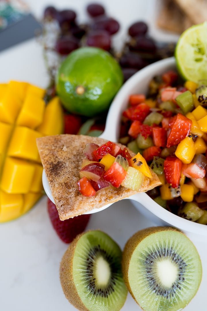 fruit salsa recipe on a cinnamon chip