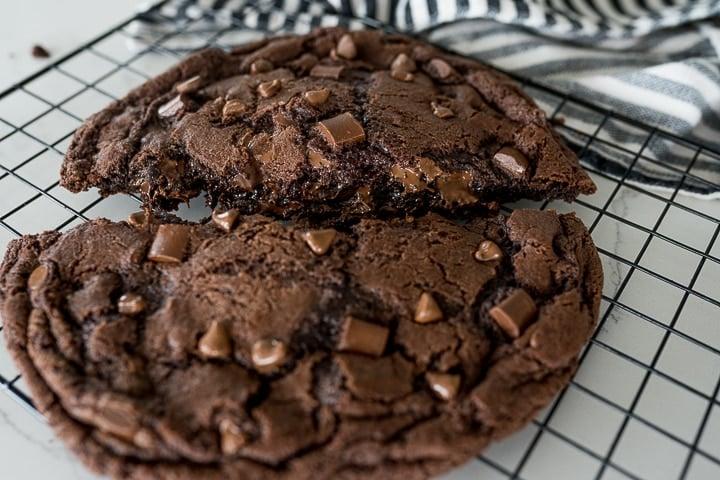 giant chocolate cookie recipe, broken in half