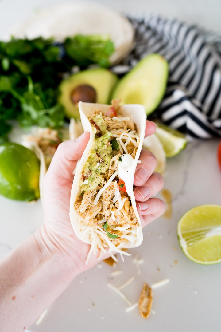 holding a taco made with honey lime chicken