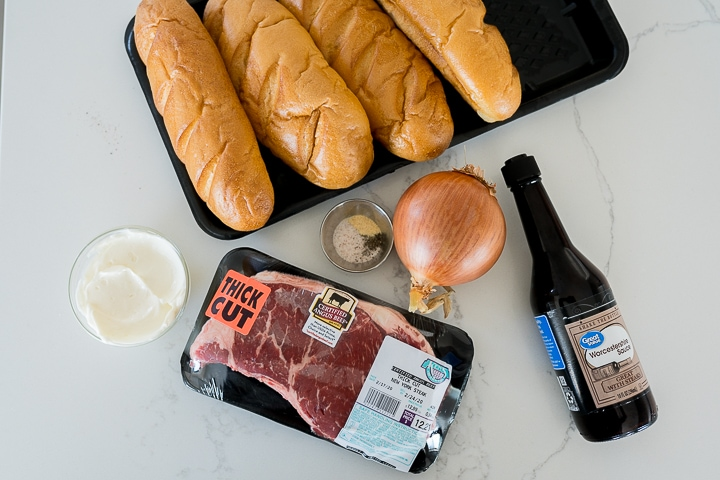 recipe ingredients to make a Philly cheesesteak sandwich