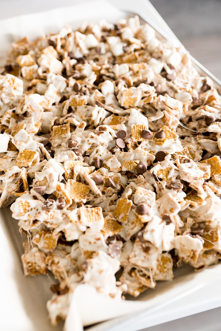 Smores bars made with Golden Grahams