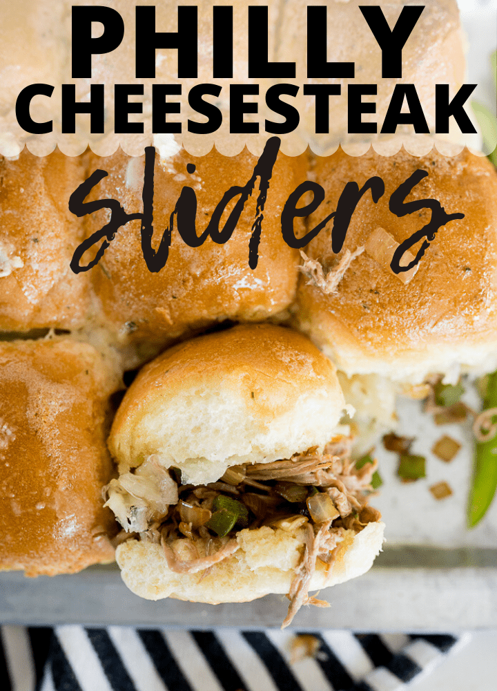 pin image for Philly cheesesteak sliders
