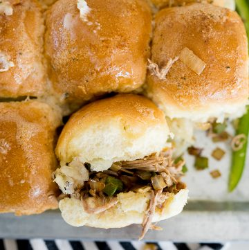Philly cheesesteak slider, finished baking and served
