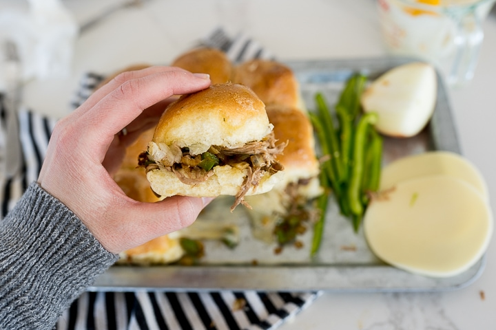 Philly cheesesteak sliders, served