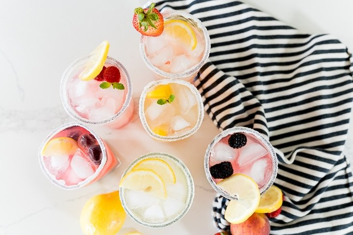 Flavored homemade lemonade with homemade syrups