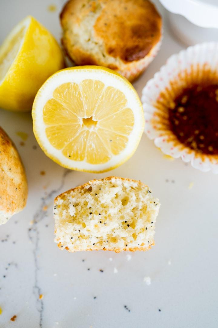 Lemon Poppyseed Muffin, broken in half