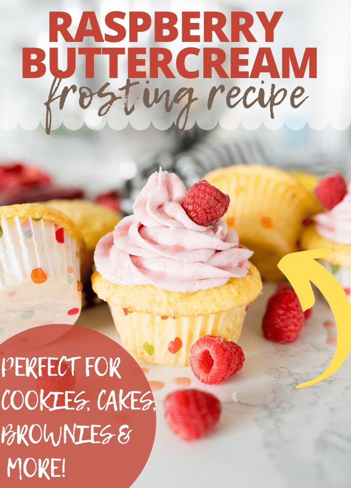 pin image for raspberry frosting