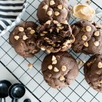 chocolate peanut butter chip cookies, on a cooling rack