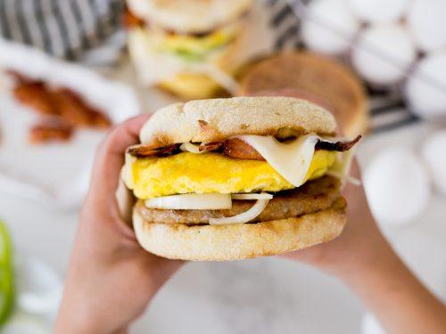Microwave Breakfast Sandwich Cooking
