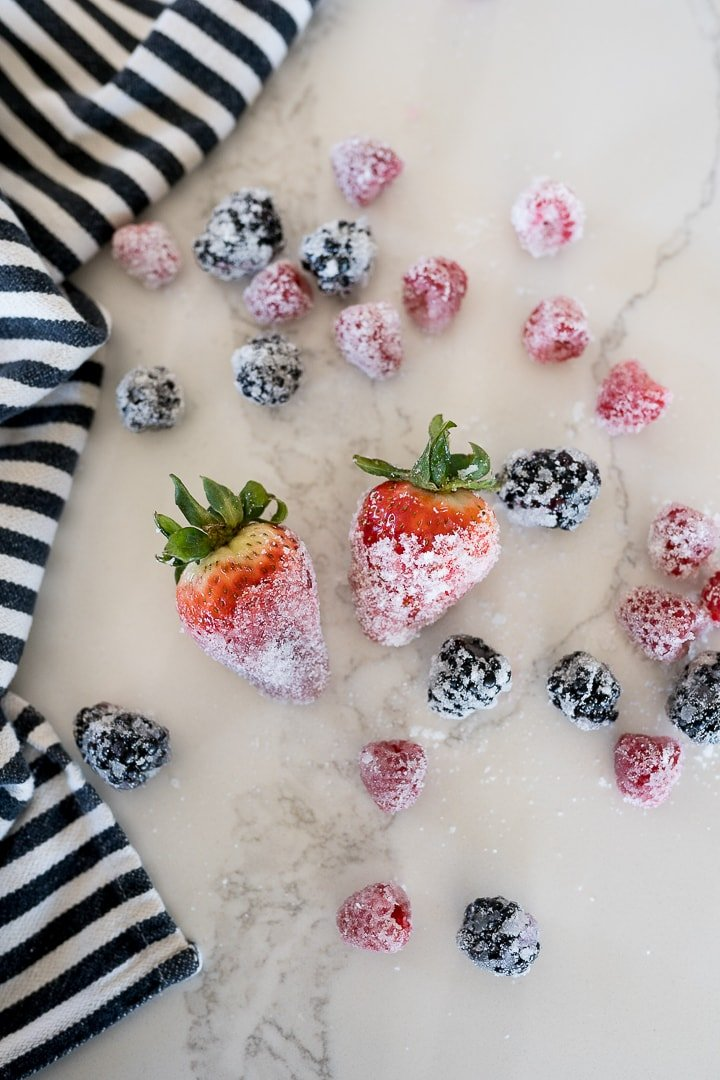 sugar coated berries on a table