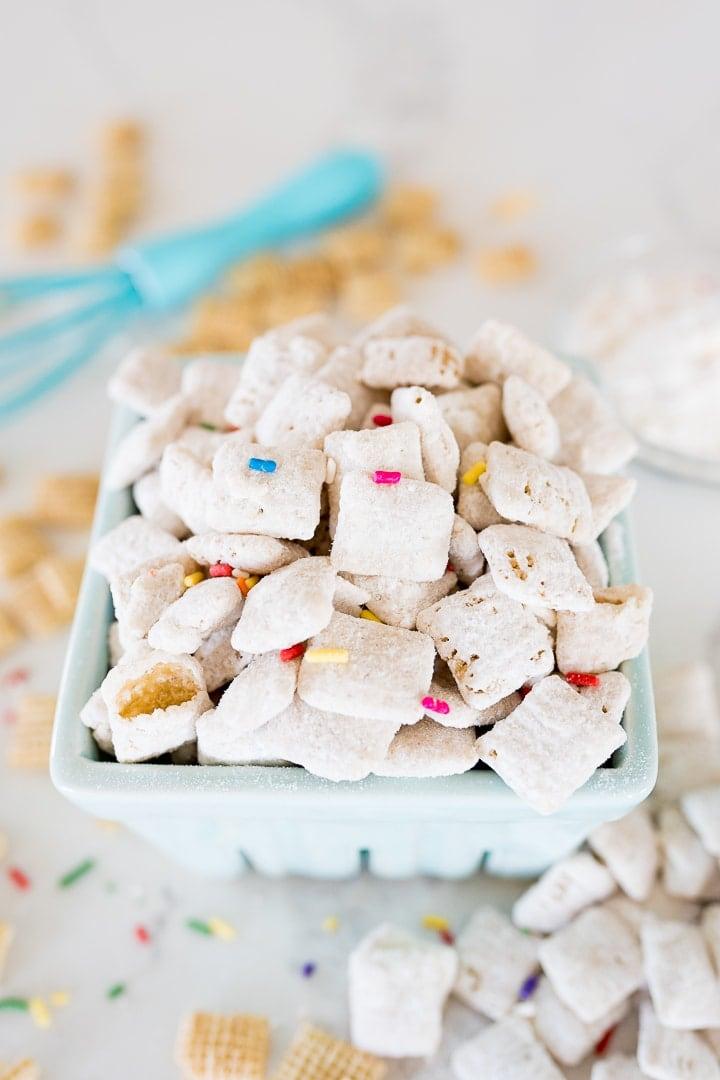 Funfetti flavored muddy buddies with sprinkles