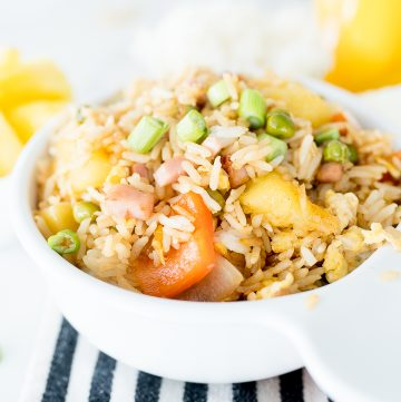fried rice with pineapple and peppers