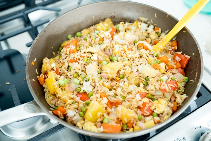 Hawaiian fried rice in a pan on the stove top