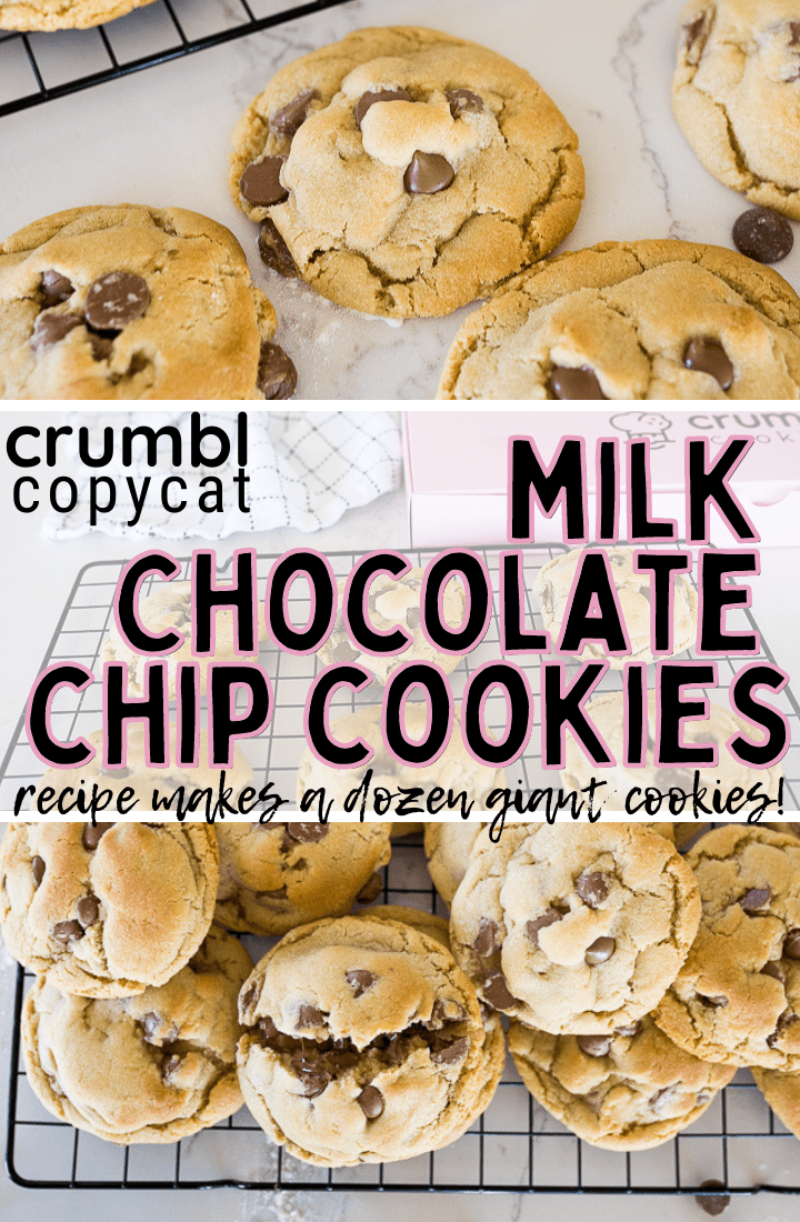 Crumbl Chocolate Chip Cookies are a rich, GIANT cookie loaded with milk chocolate chips and served warm. This is the BEST copycat recipe! via @cookingwithkarli