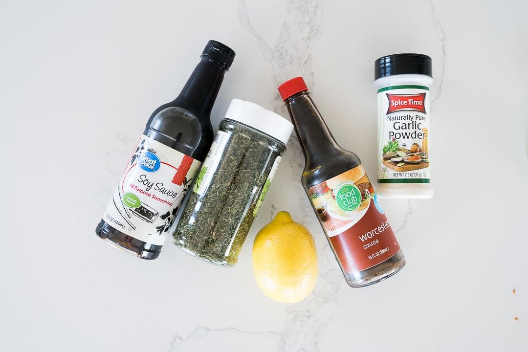 Ingredients needed to make steak marinade