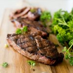grilled steak that was marinaded with lemon juice