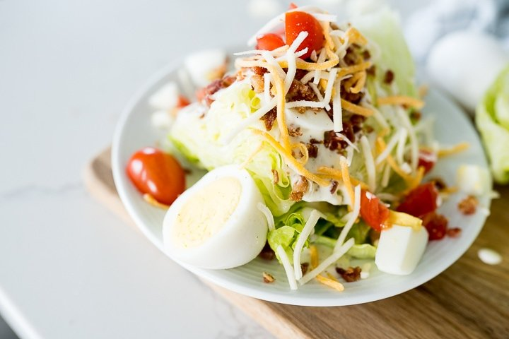 Wedge salad with hardboiled eggs