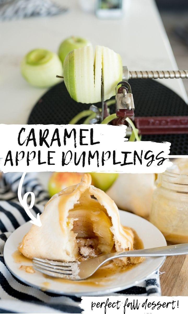 pin image for caramel apple dumplings.