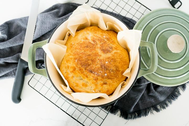 Artisan Bread inside of a dutch oven