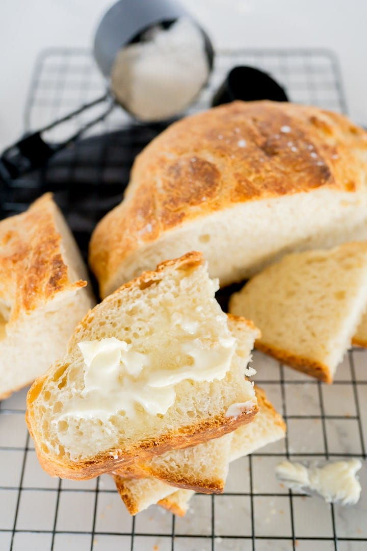 artisan bread recipe, final photo of sliced bread