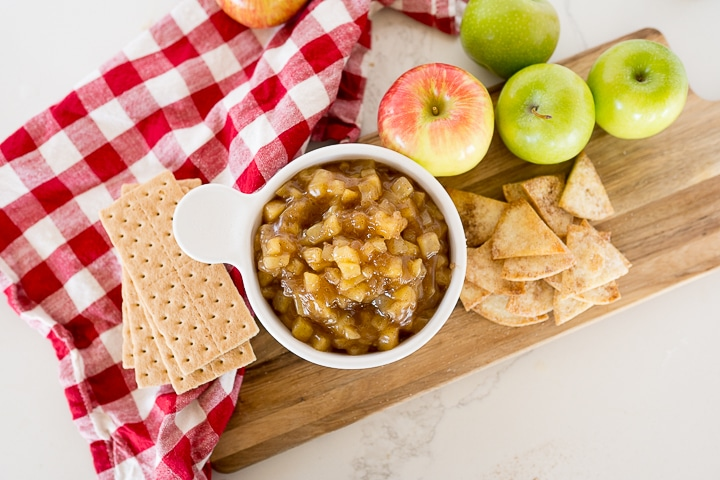 apple pie dip with graham crackers and tortilla chips