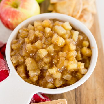 apple pie dip in a white bowl