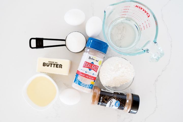 Ingredients needed to make churros- butter, salt, egg, cinnamon, sugar, water and oil