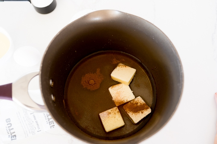 water, cinnamon and butter in a sauce pan