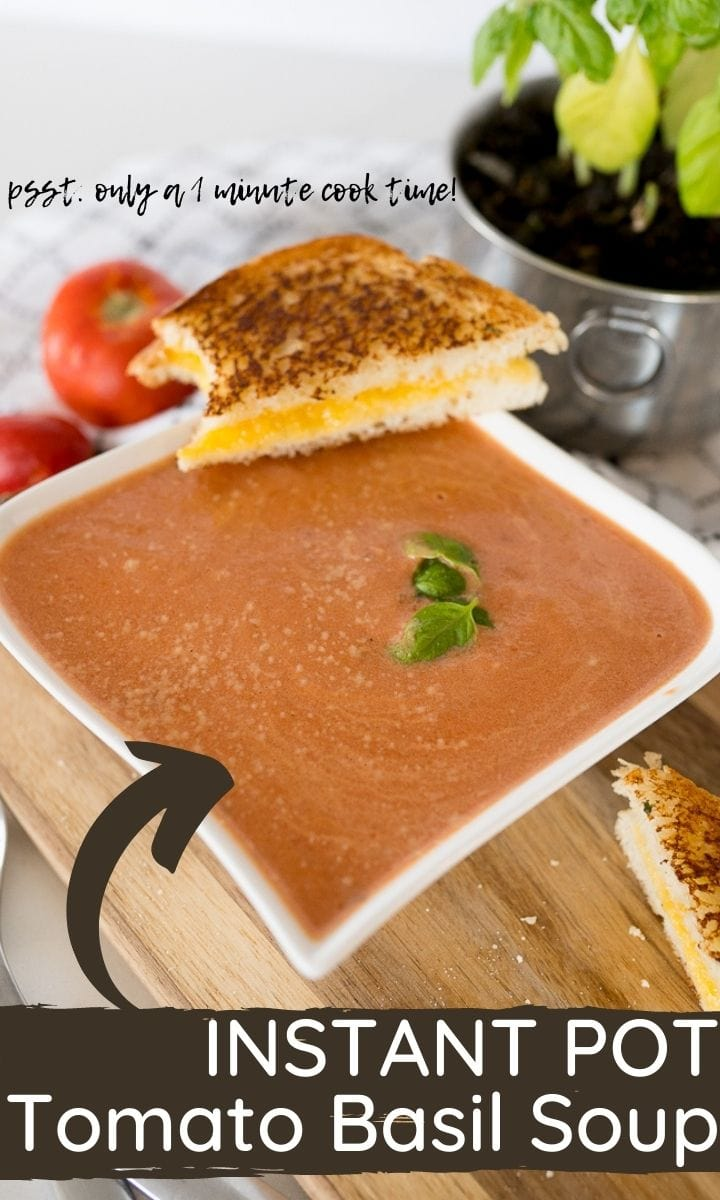 pin image for tomato basil soup with text overlay