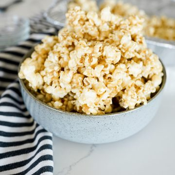 caramel popcorn in a large bowl