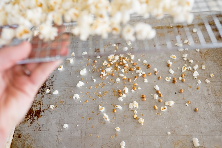 popcorn kernels on a cookie sheet after separating them out from the popped kernels
