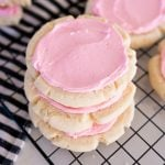 crumbl sugar cookies, stacked in a stack