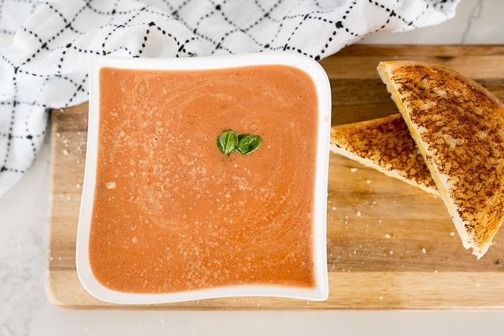 tomato basil soup with grilled cheese on the side.