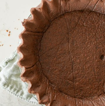 chocolate pie crust, baked in a pie plate