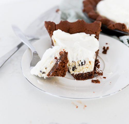 no bake cookie dough pie on a plate