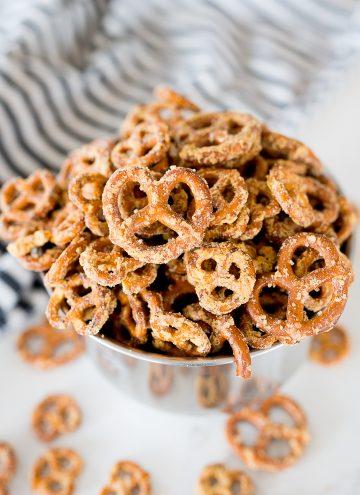 dots pretzel copy cat recipe in a silver bowl