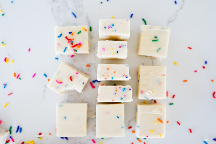 cake batter or funfetti flavored fudge cut and left in rows.