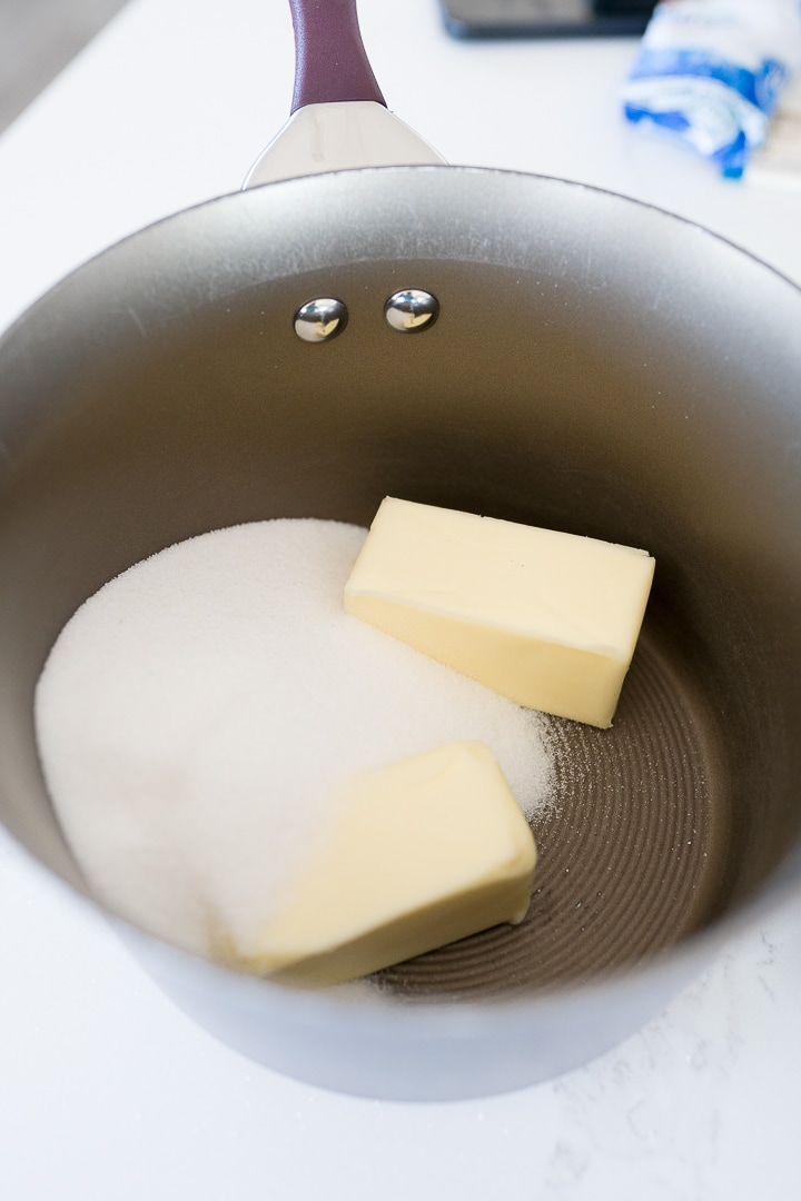 butter and sugar in a heavy bottom sauce pan