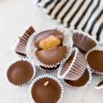 peanut butter cups, finished and cut in half