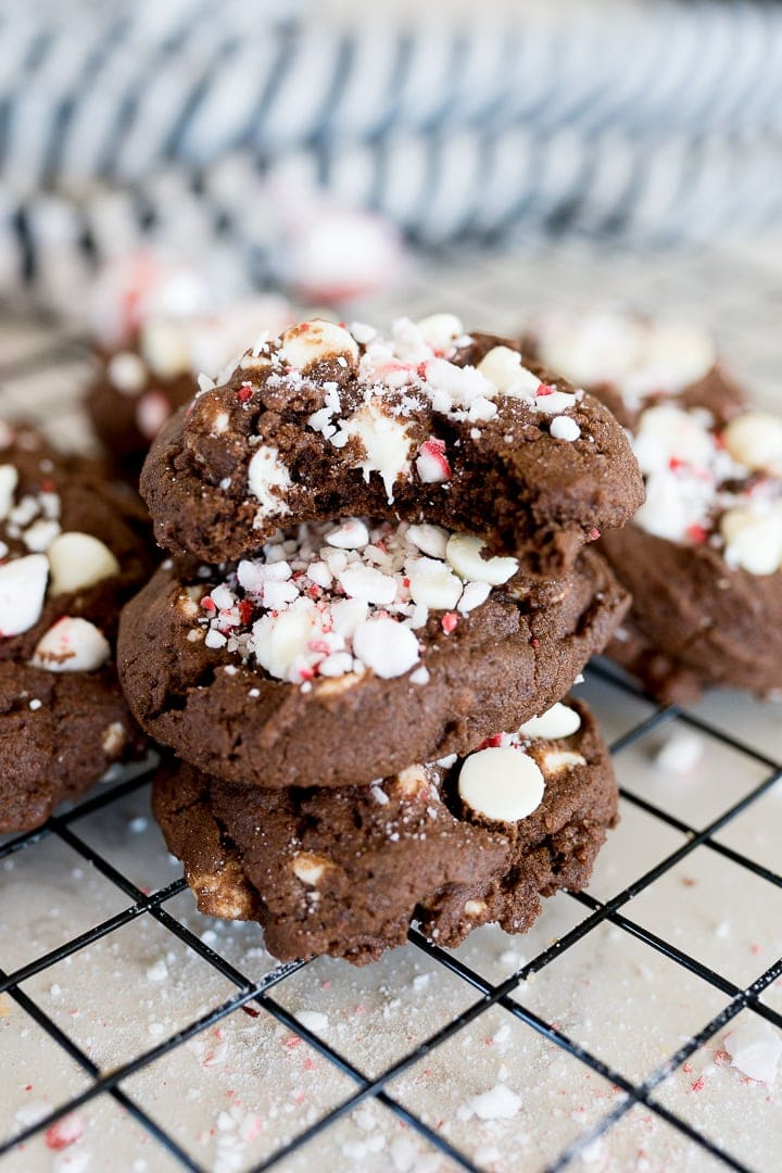 chocolate cookies with white chocolate chips and peppermint
