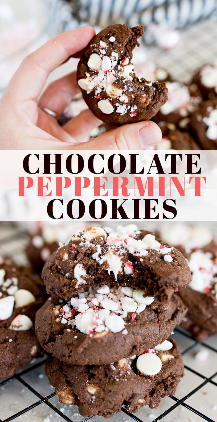 pin image for chocolate peppermint cookies