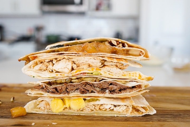 four different tortilla trend recipes stacked on top of each other